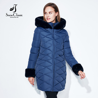 SnowClassic Winter Women Coat Jacket Woman Parka Long Теплый воротник высокого качества / рукав Зимний шорт с капюшоном 2018Новая зима