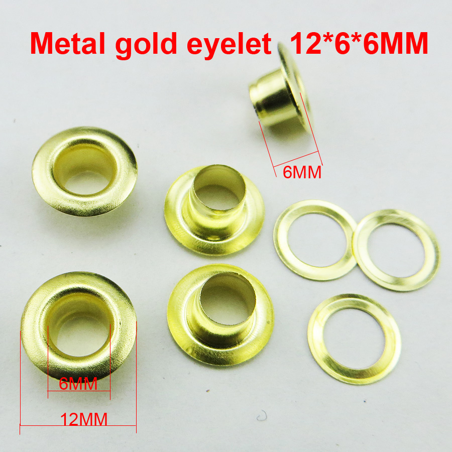 200pcs 12*6*6mm METAL gold eyelet round button BRAND clothes accessory leather bag shose ...