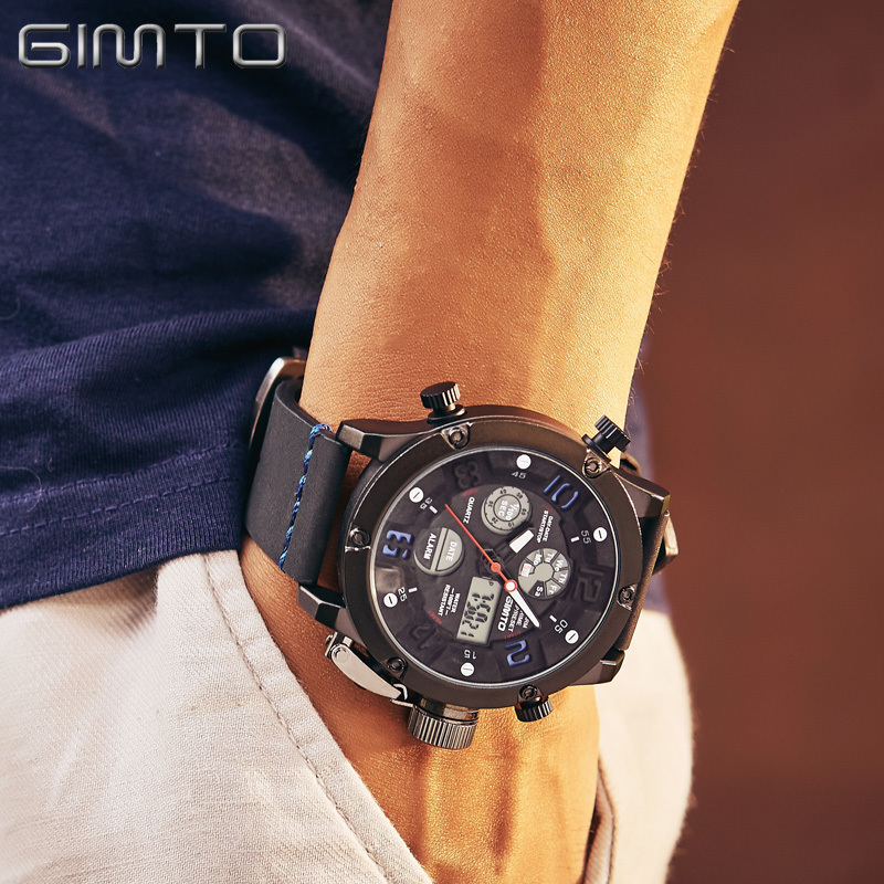 GIMTO Mens Watches Top Brand Luxury Analog Digital Watch Men Wrist Watch Sport Male Clock Army Waterproof Leather Military LED binger brand men watches military vogue leather self wind analog clock army mens sports wrist watch stainless steel buckle
