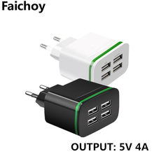 Goede 5V 4A Universele 4 Poorten USB Charger EU Plug Voor Samsung iPhone iPad Xiaomi Huawei Tabletten Reizen Muur charger Power Adapter(China)