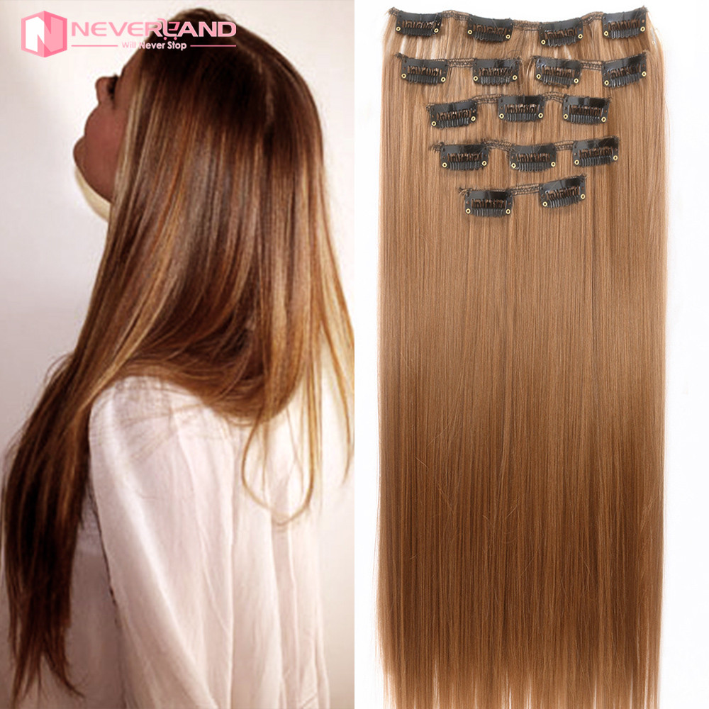 7pcsset 24 In 60cm Long Straight Clip In Hair Extensions 180g Heat