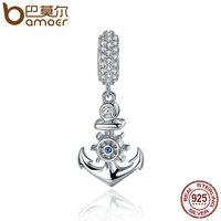 BAMOER High Quality 925 Sterling Silver Ocean Anchor Clear CZ Charm Pendant Fit Women Charm Bracelet
