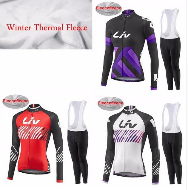 Liv hiver thermique polaire cyclisme Jersey ensemble à manches longues 9D GEL PAD pantalon Ropa ciclismo vélo vélo vêtements maillot Ciclismo