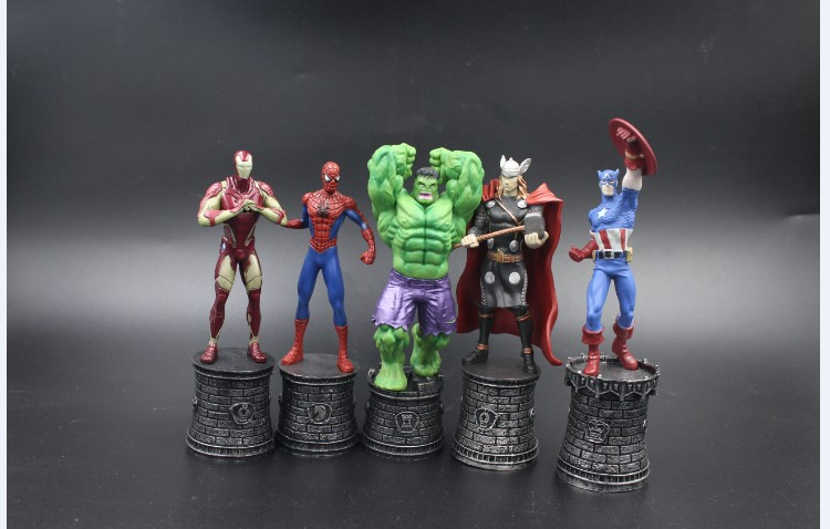 Marvel Avengers Superhero Chess Hulk Spider Captain America Thor Iron Man PVC Action Figure Collectible Model Toy 14-15 KT2132 xinduplan marvel shield iron man avengers age of ultron mk45 limited edition human face movable action figure 30cm model 0778