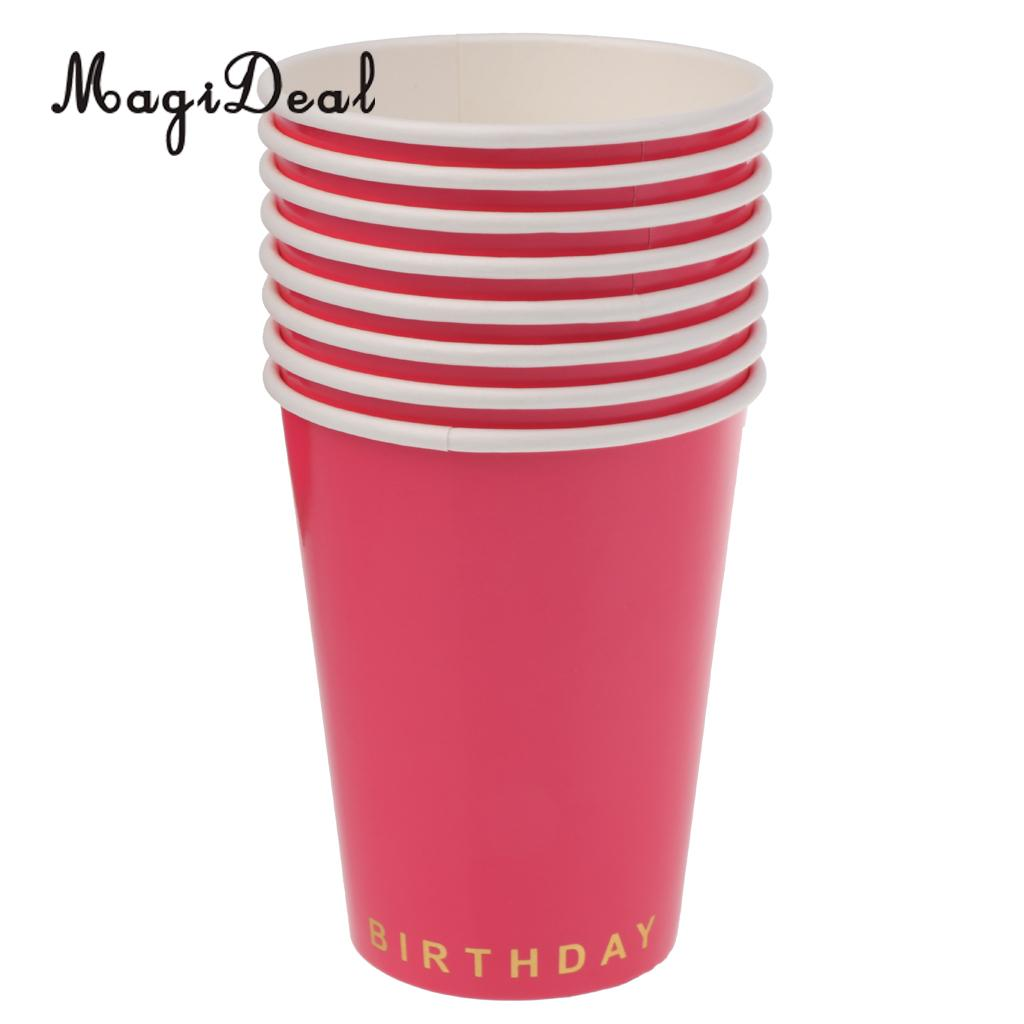 MagiDeal 8 Pcs/Lot 270 ml Solid Color Paper Cups Wedding Birthday ...