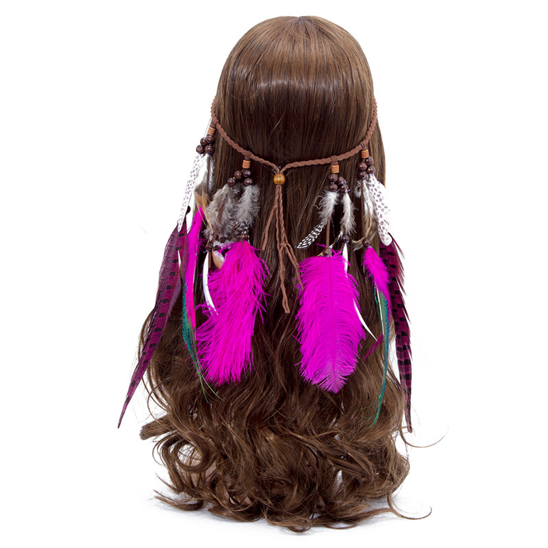 Haimeikang Hot sale Women Feather   headwear   Hair Accessories Peacock Feather Head Bands Bohemian party hair accessories