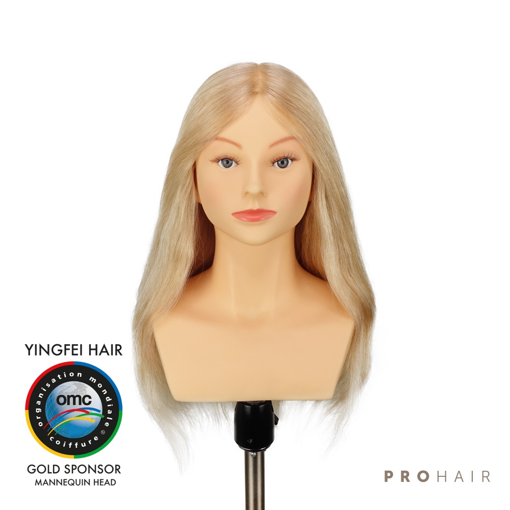 PROHAIR OMC Approved 50CM 20 100 Human Hair Light Blond Competition Mannequin Head Hairdressing Mannequin Doll