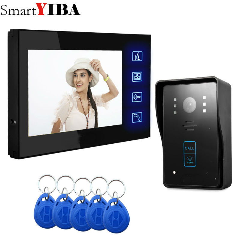 SmartYIBA 7 Touch Video Door Phone IR Night Vision ID Cards Reader Video Camera Audio Visual Intercom Doorbell Access System 7 touch monitor video door phone intercom doorbell system aluminium alloy night vision camera visual intercom video interphone