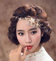 Handmade Wedding Hair Vine Pieces Crystal Rhinestone Pearl Ribbon Headband Bridal Gold Bridal Headpieces Designer Hair