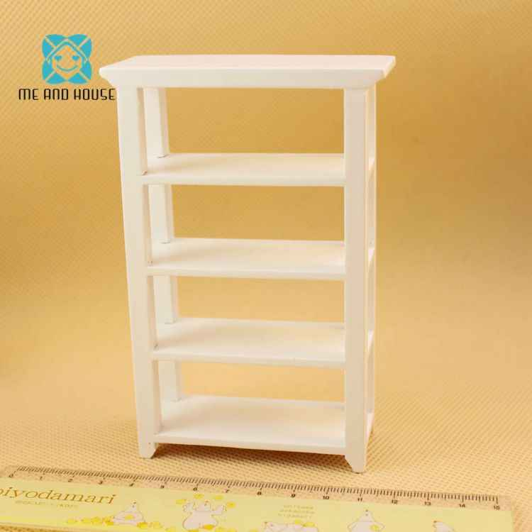 Doll House Handmade  Shelf Display Mini Scale Miniature Furniture Modern White Wooden Display Shelf
