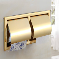 304 Stainless Steel Gold Toilet Paper Holder Hardware Wall Type Rolling Box Embedded Double Roll Paper Towel Rack Style