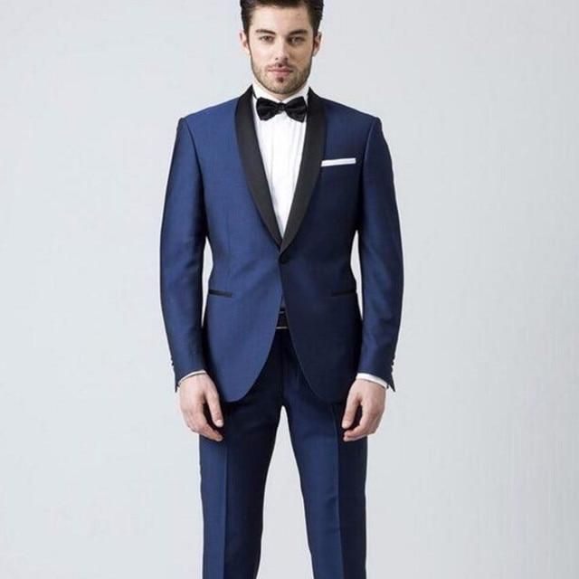 Commercio all\u0027ingrosso blu Scuro Giacca pantalone Nero collo sciallato uomo  adatta il vestito del
