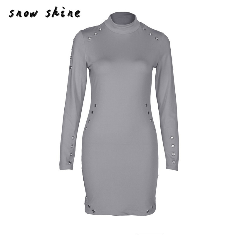 snowshine YLI Women Sexy High-Necked Long Sleeve Package Hip Slim Dress FREE SHIPPING