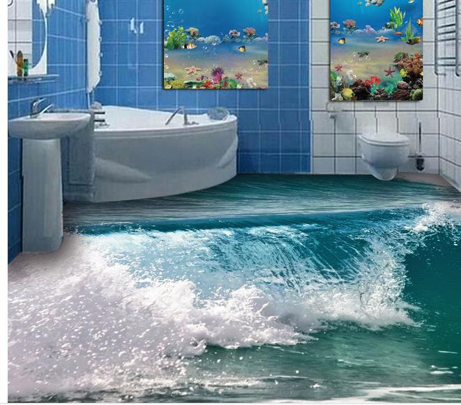 custom photo floor wallpaper 3d stereoscopic ocean waves. Black Bedroom Furniture Sets. Home Design Ideas