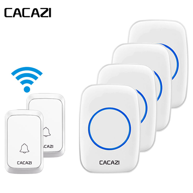 купить CACAZI Waterproof Wireless Doorbell LED Light Battery Button 58 Chime Home Cordless Calling Bell 300M Remote EU Plug 4 Receivers по цене 2379.23 рублей