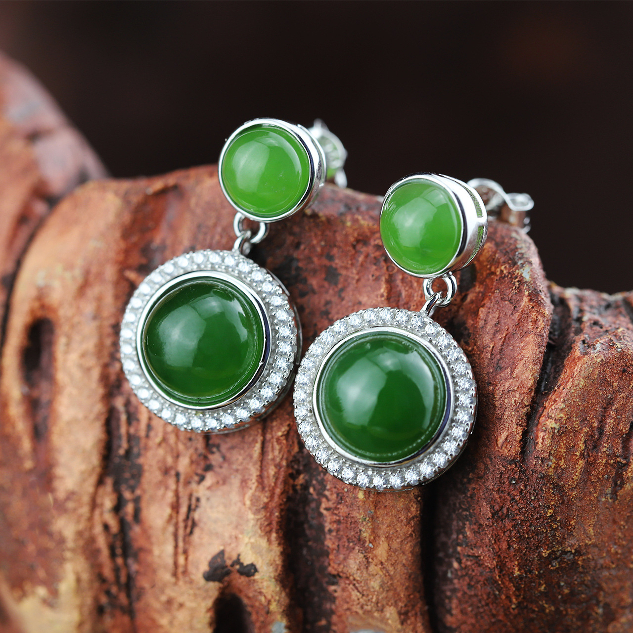 Character Silver Product S925 Pure Silver Jewelry Fashion Earrings Wholesale Handmade Lady Hetian Jade Earrings character silver product s925 pure silver new mark antique watch authentic thai contracted female model