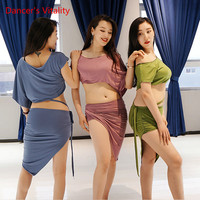 NEW STYLES! Women's Belly Dance Set Cotton Short Sleeve Top + Skirt 2 Pcs Women Belly Dance Suit Set Of Exercises 3 Colors