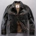 Сделать старый Натуральная Кожа Одежды Лацкан Утолщаются Кожаные куртки Мужчин Короткий Мотоцикл кожа