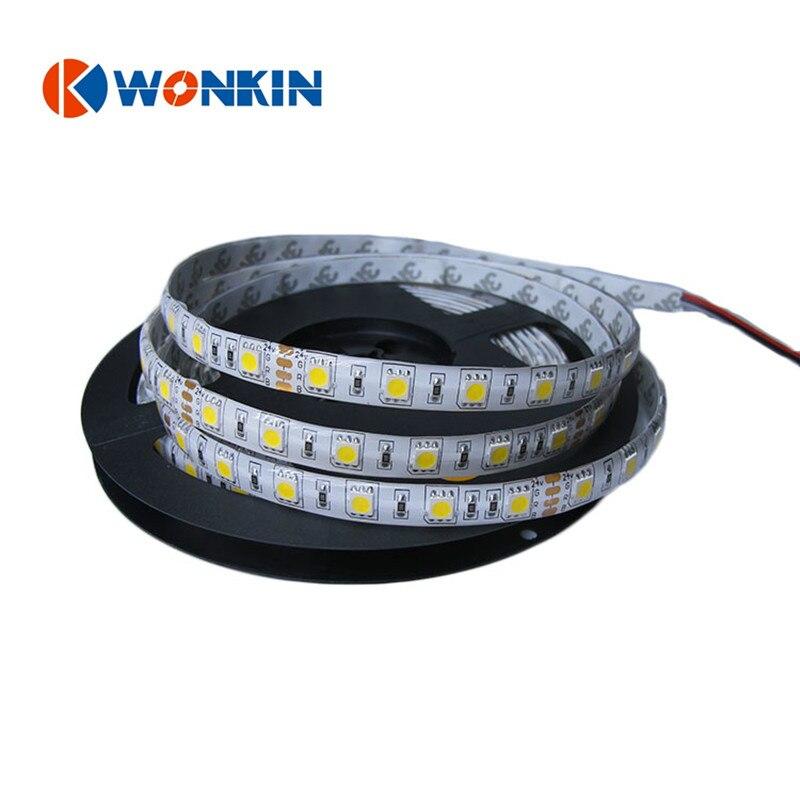 LED sloksne SMD5050 IP20 IP65 ūdensnecaurlaidīga DC12V 24V Led sloksnes virves gaisma 60LED / m 5M balta / silta balta / RGB māja dekorēšana
