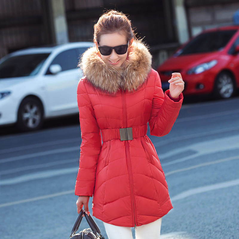 2017 winter new hooded down jacket women in the long section of Slim was thick Korean fur collar  coat 2017 winter new clothes to overcome the coat of women in the long reed rabbit hair fur fur coat fox raccoon fur collar