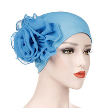 Turban Boho Hair Accessories Muslim Scarf Women Stretchy Beanies with Big Flower Head Cap Cotton Hat Ladies Hair Loss African(China)