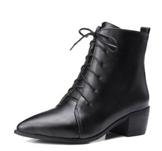 Fashion Pointed toe Cross tie Ankle Boots 2016 Brand Hoof High Heels Short Boots Autumn Summer Boots Shoes Woman botas mujer 215