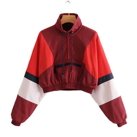vintage Splicing bomber jacket coat Autumn Long Sleeve Sweatshirts women jacket Pullover Front Zipper Jackets Casual Coats