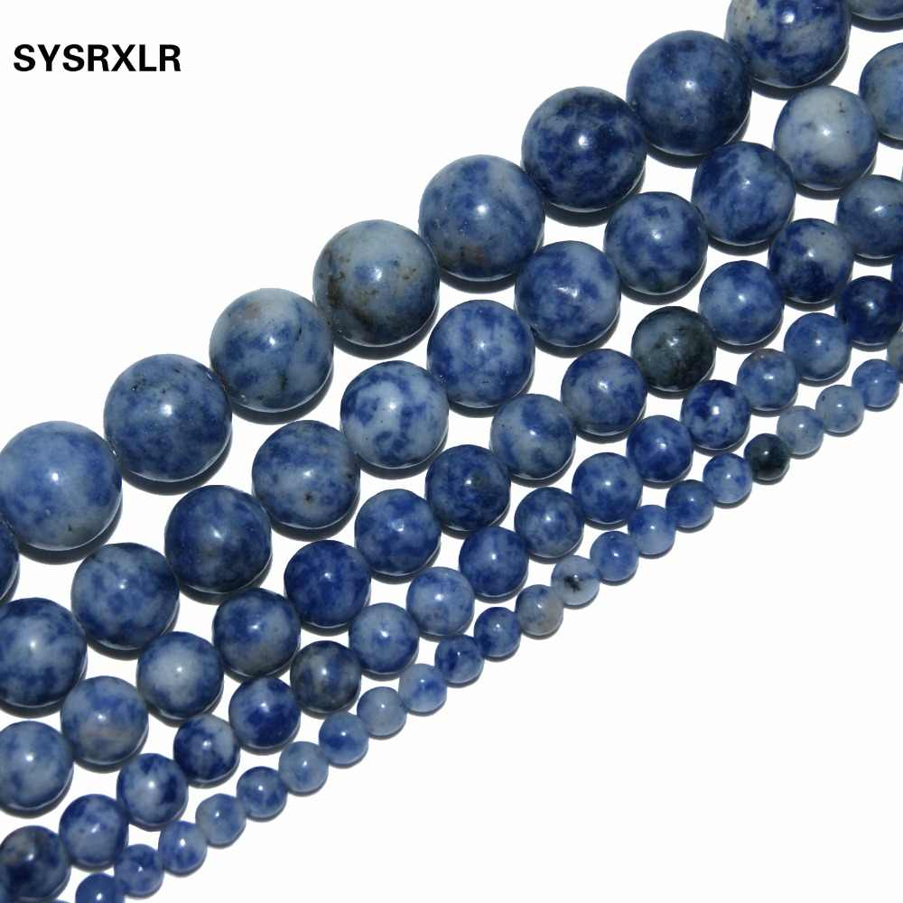 Dot White Blue Vein Sodalite Natural Stone For Jewelry Making DIY Material For The 4MM 6MM 8MM 10MM 12MM Strand Bracelet