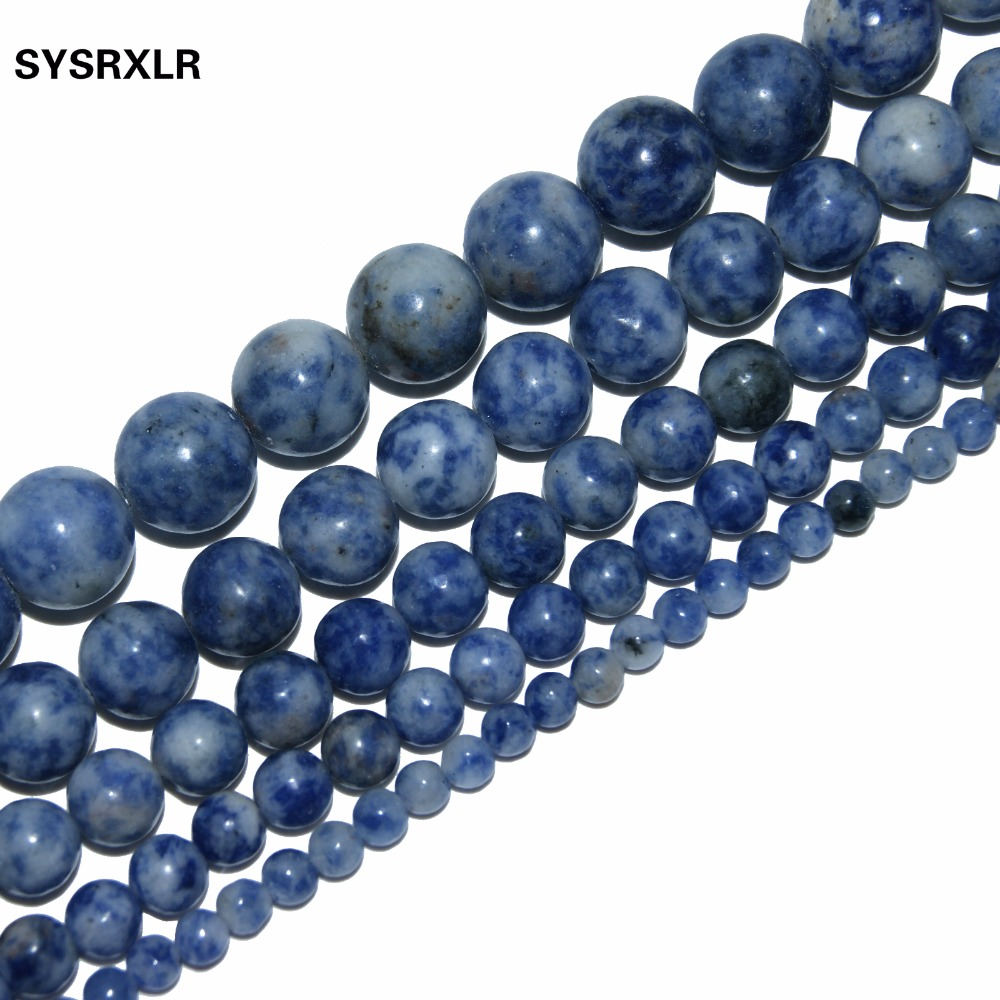 Dot White Blue Vein Sodalite Natural Stone For Jewelry Making DIY Material For the 4MM 6MM 8MM 10MM 12MM Strand βραχιόλι