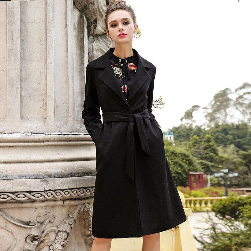 Bas Vers De 2017 Mode 5xl D'hiver Plus Tenue Trench Dames Pardessus Manteau Noir Outwear Élégante Tournent Size4xl Cultiver Le Laine pvpw85qr