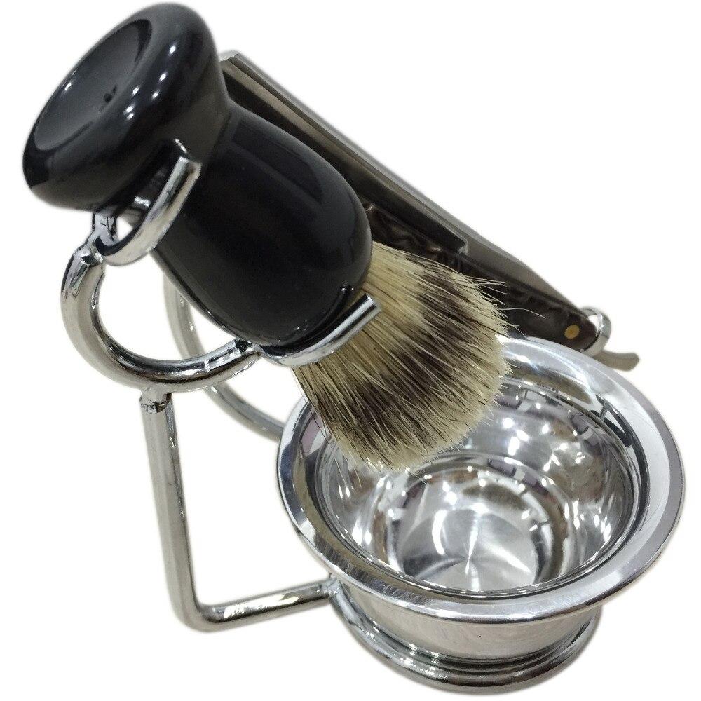 4 In 1 Shaving Set Badger Hair Brush + Beard Razor + Razor Stand Holder + Soap Bowl Salon Professional Barber Facial Clean Tool shaving brush comb set natural boar bristle beard brush silvertip badger tooth comb for man gift box barber brush care of b
