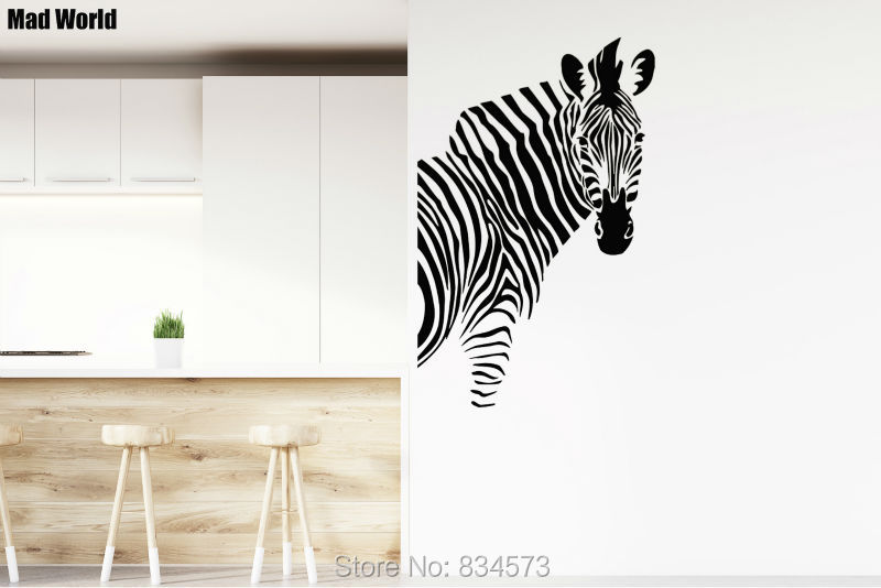 Zebra Equine Horse Animals Nature Wall Art Sticker Decal Home DIY Decoration Decor Wall Mural Removable Room Decal Sticker 56x89
