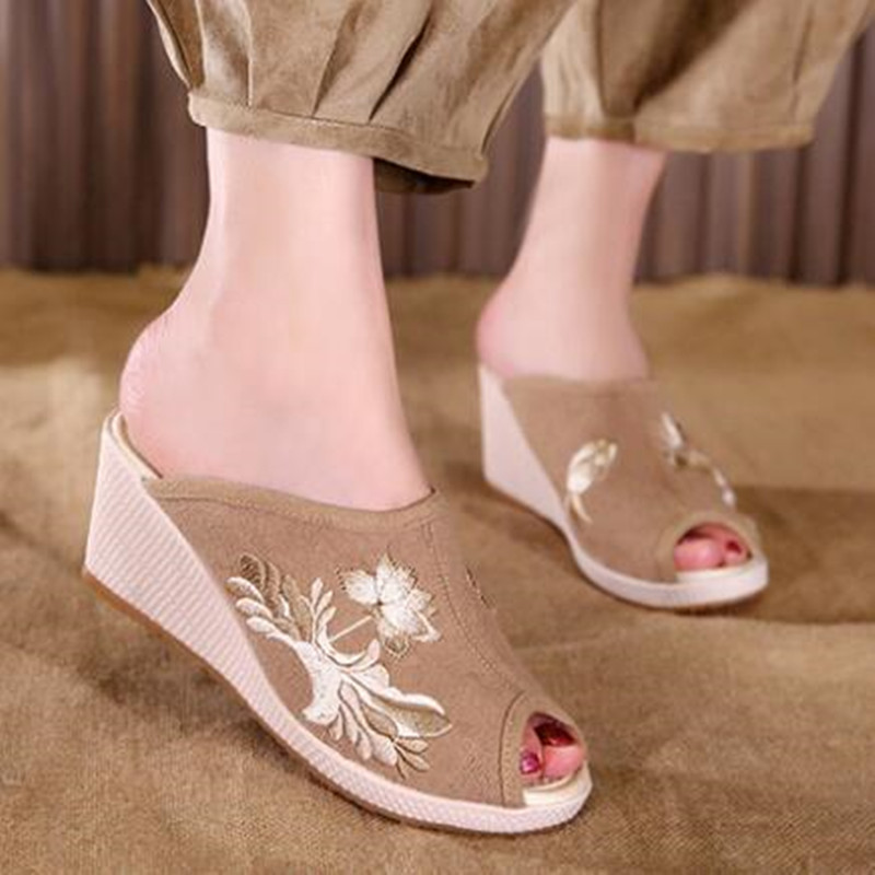 Ladies Canvas Open Toe Wedges Slipper Slides Summer Casual Holiday Sandals Floral Embroider Vintage Pumps Flax Insole Shoe 3