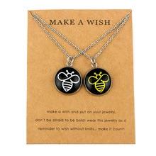 (A Set) Bee Silver Pendants Necklaces Crown King His Queen Charm Women Men Girls Boys Unisex Jewelry Lovers Best Friends Gift