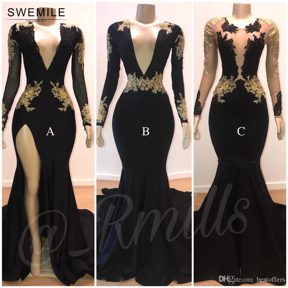 Sexy Deep V-Neck Long Mermaid Black   Prom     Dresses   2019 Gorgeous Golden Lace Appliques Long Sleeve Open Back Evening Party   Dresses