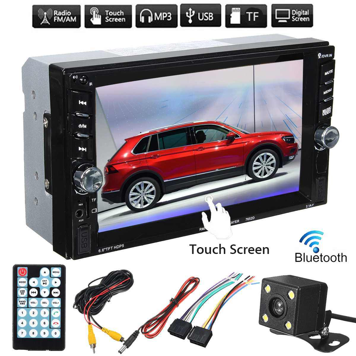 "Autoleader 2 DIN 7652D 6.6"" bluetooth Car Stereo Radio HD MP5 FM Player Touchs Screen with Rear Camera"