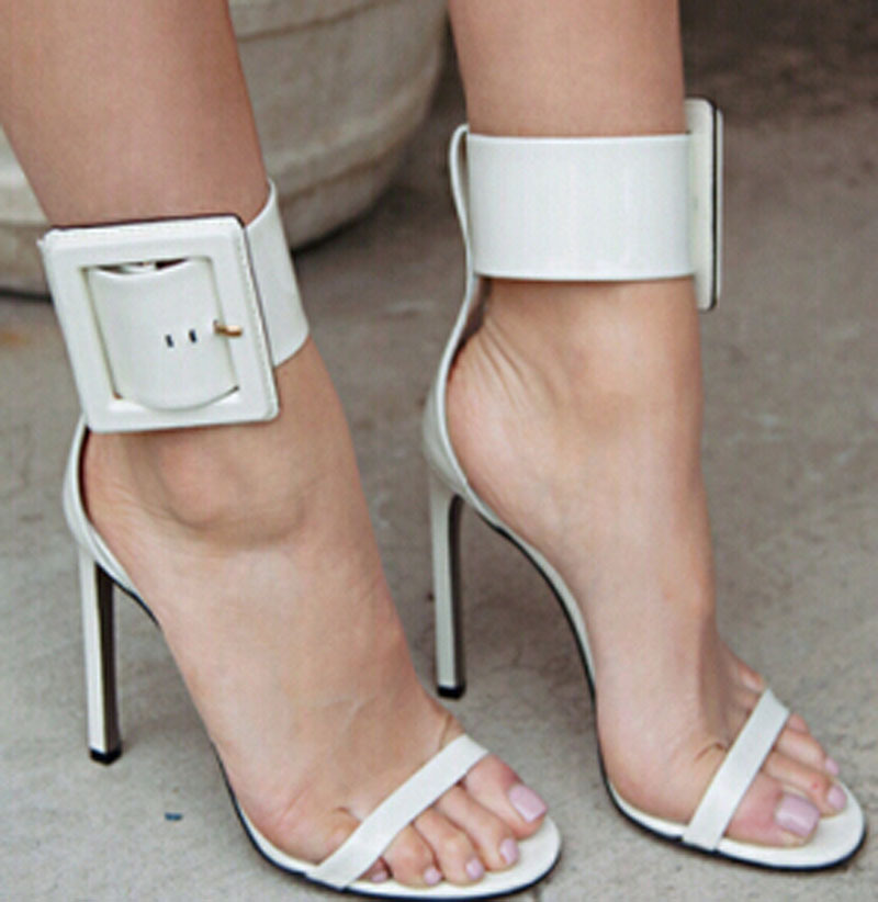 ФОТО new fashion patent leather ankle big buckle strap high heel sandal shoes concise open toe high heel gladiator sandals