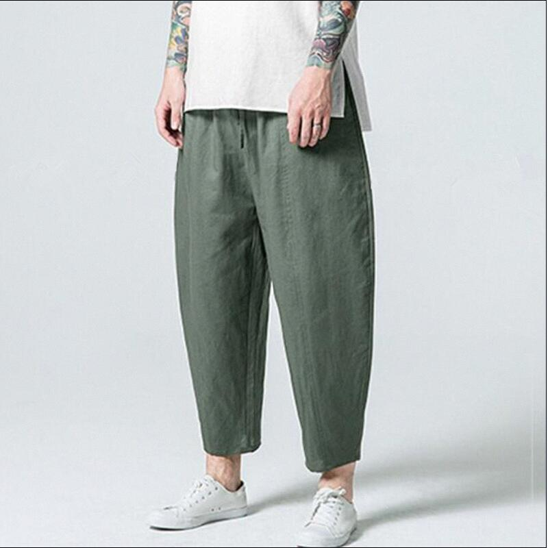 2020 Fashion Men Cotton Linen Pants Comfortable Male Trousers Fashion Wide Leg Pants Casual Harem Pants Plus Size M-4XL 5XL 6XL