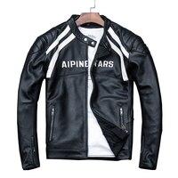 HARLEY DAMSON Black Men Slim Fit Biker's Leather Jacket Plus Size XXXXL Genuine Cowhide Spring Natural Motorcycle Leather Caot