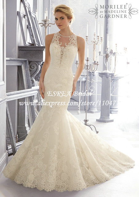 See Through Back Romantic High Neckline Vintage Lace Wedding Dress ...