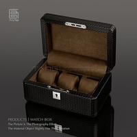 fashion 3pillow high quality black PUleathe real wood watch box watch storage box wood watch SBH014b