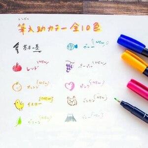 Image 3 - Японская ручка Tombow с кисточкой, 10 шт./компл., ручка для письма, каллиграфии, маркеры для рисования, школьные принадлежности, 10 цветов