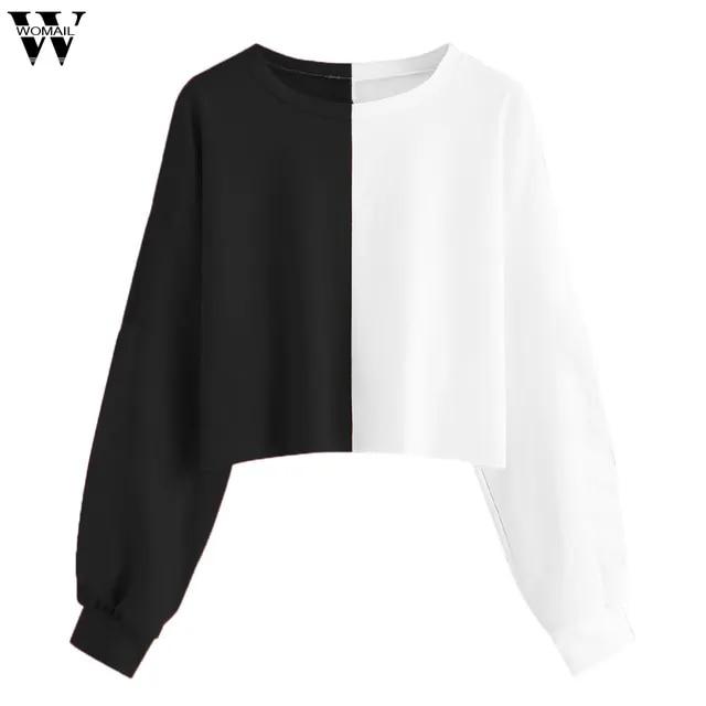 women hoodies sweatshirts Womens Solid Long Splice Sweatshirt Short Pullover Hooded Tops fashion sweatshirt women hoodies Ju18