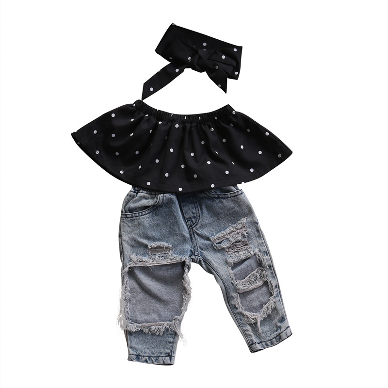 2018 Infant Baby Girls Clothes Sets Dot Sleeveless Tops Vest+pair Of Jeans Hole Headband ...