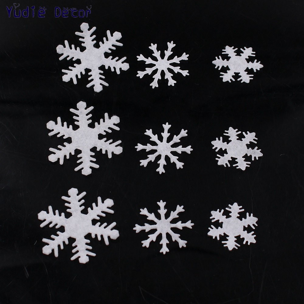 100Pcs Artificial Flannelette White Snow Flowers Winter New Year Christmas Kids Bedroom Wall Stickers Baby Rooms Home Decoration