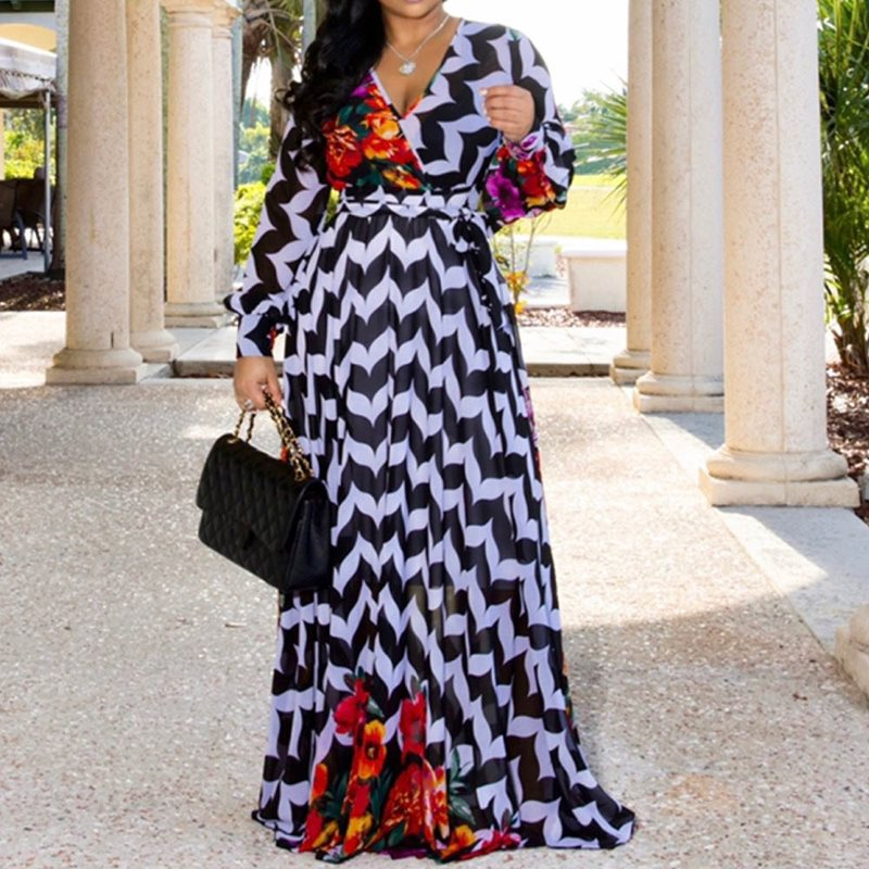 Fashion Fall 2019 Stripe Floral Print Long Sleeve Chiffon Dress Women African V Neck Ladies Casual Boho Maxi Autumn Long Dress