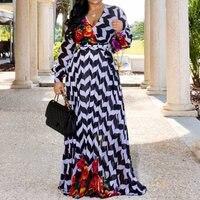 Fashion Fall 2019 Stripe Floral Print Long Sleeve Chiffon Dress Women African V Neck Ladies Casual Boho Maxi Autumn Long Dress