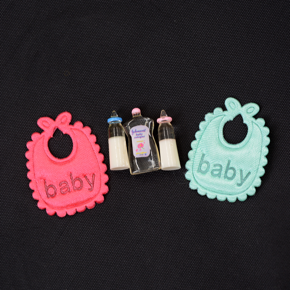 1 6 1 12 1 12 Dolls House Miniature Baby Bottles Shampoo Bibs Set Nursery Accessories