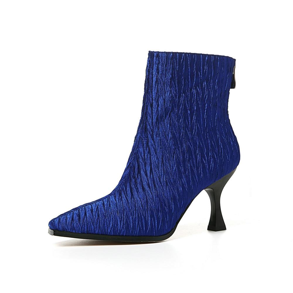 Dünne Frau Herbst Brown Hochhackige Karree Stiefeletten Winter Zurück Aiweiyi High blue Stiletto Schuhe Zipper Heels dnPxqRqB