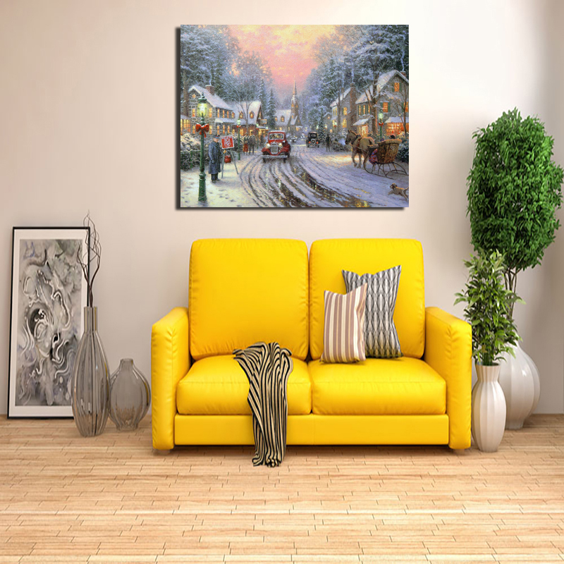 Thomas Kinkade Cottag Wall Art Canvas Painting Posters Prints Modern Painting Wall Picture For Living Room Home Decor Artwork HD in Painting Calligraphy from Home Garden